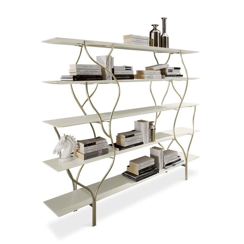 Bücherregal mit gebogenen Rahmen in Hand poliert Metall | IDFdesign