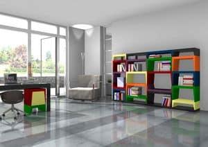 Annabelle, Modular bunten Bücherregal aus lackiertem Laminat