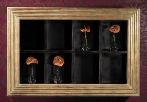 Art. 20606, Wand Bücherregal mit Rahmen in Gold-Finish