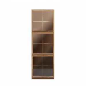 Atlantic Bücherschrank 3 Türen, Vertikales Bücherregal, mit Glastüren