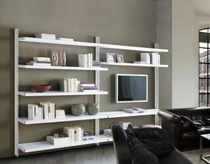 Big wall unit with floor support, Bibliotheken Regal Büro-und Objektbereich