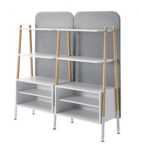 Blog, Modulares Bücherregal mit Containern und gepolstertem Rücken