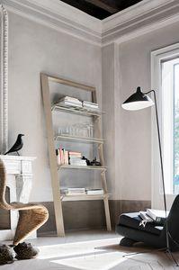 BOOK PP116 PP115, Bücherregal aus Metall mit Glasböden