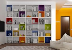 Bücherregal AL 12, Modernes Bücherregal mit bunten Kästen