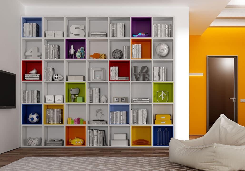 Modernes Bücherregal modernes bücherregal mit bunten kästen idfdesign