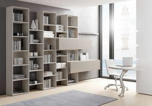 Bücherregal AL 13, Bücherschrank mit Behälter mit Kippöffnung
