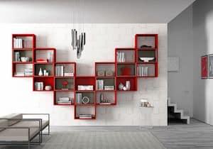 Bücherregal AL 15, Hängendes Bücherregal mit Umreißkästen