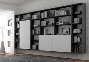 Bücherregal AL 16, Bücherschrank mit 3 Wandboxen mit push-pull Öffnung