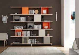 Bücherregal AL 17, Bücherregal aus Regalen und quadratischen Behältern