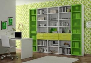 Bücherregal AL 18, Bücherregal mit 2 Türen aus Aluminium und Methacrylat