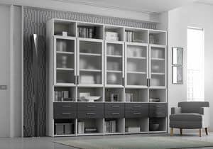 Bücherregal AL 19, Bücherregal mit 5 transparenten Türen und 10 Schubladen