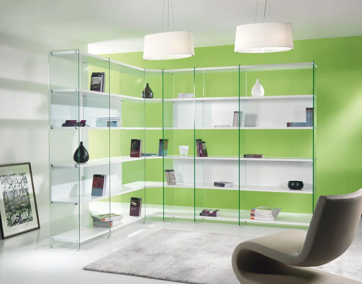 Byblos comp. 01, Corner B�cherregal mit einem minimalen Design