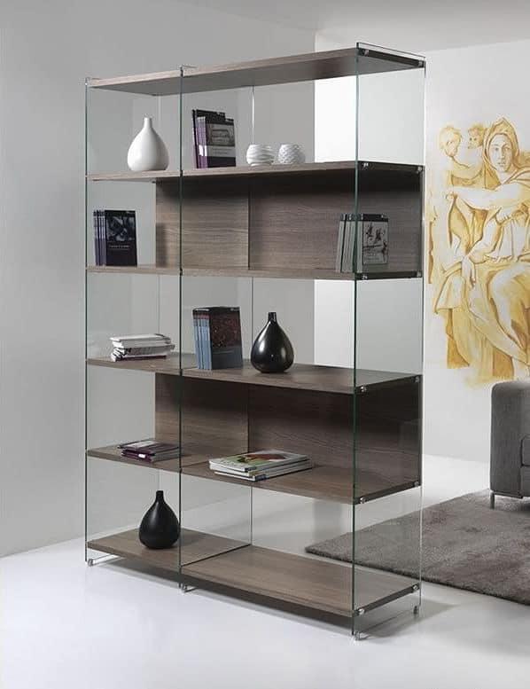 Byblos comp. 04, B�cherregal mit einem modernen Design, in Glas klar mit Regalen