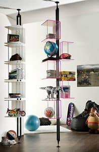 Carpe Diem, Bücherregal aus lackiertem Metall, mit unterschiedlichen Oberflächen