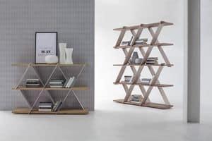 CASTLE, Bücherregal mit Metallstruktur und Holzregale