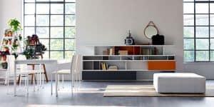 Citylife 09, Farbige Bücherschrank für moderne Wohnzimmer geeignet