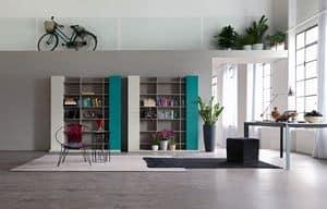 Citylife 32, Moderne Zusammensetzung für Wohnzimmer, mit Bibliothek