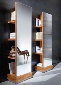 Diamante Art. 38.760, Bücherregal mit Spiegel, aus Nussbaumholz