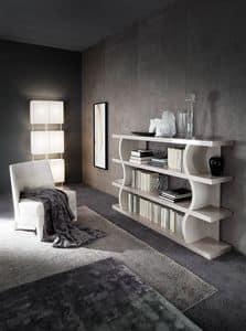 DUNE Bücherregal, Design Bücherschrank mit Regalen mit Frisé-Effekt