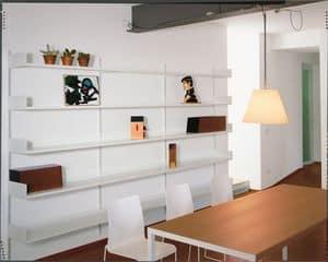 Elle System Living, Wandregal, modulare, aus lackiertem Metall, für Wohnzimmer