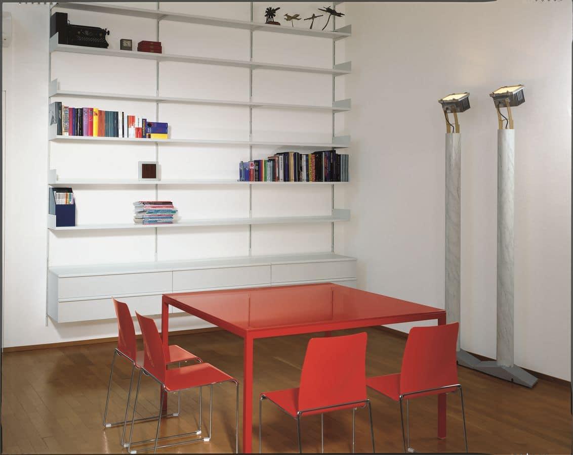 wandregal modulare aus lackiertem metall f r wohnzimmer. Black Bedroom Furniture Sets. Home Design Ideas