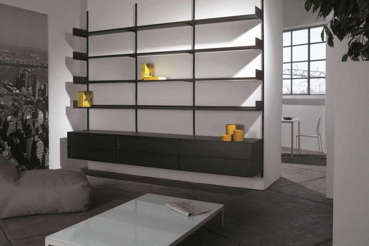 wandregal modulare aus lackiertem metall f r wohnzimmer idfdesign. Black Bedroom Furniture Sets. Home Design Ideas