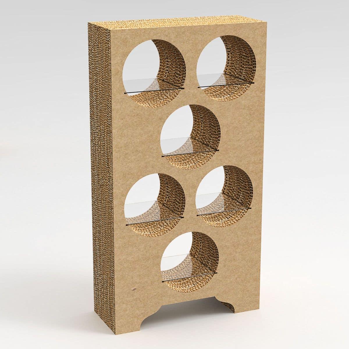 EMMENTAL, Designer B�cherschrank aus Karton realisiert, mit L�chern