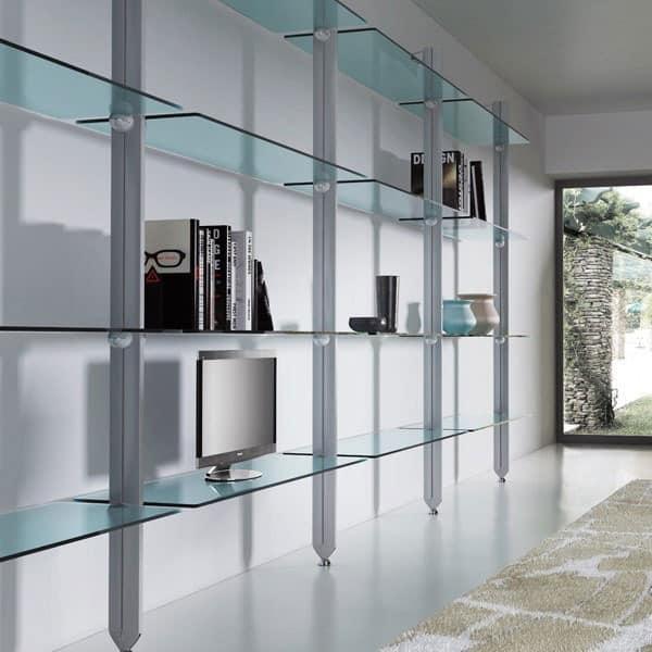Freely, Bibliothek von Aluminium und Glas, f�r moderne H�user