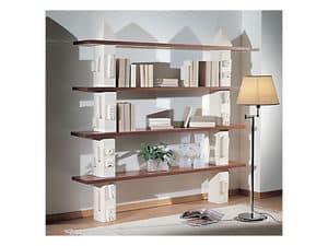 Gaia Bookcase, Modulares Bücherregal aus Stein, Regale aus Glas oder Holz gefertigt