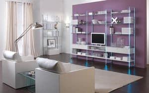 Glassystem mod.5, Linear Bücherregale, Wohnzimmermöbel, Glasstruktur, Holzböden oder Glasböden