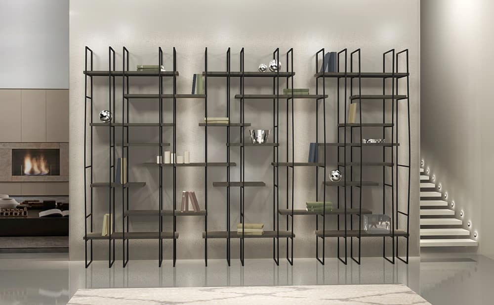 Infinity, Modulare Bibliothek in Stahl, Laminat Regale