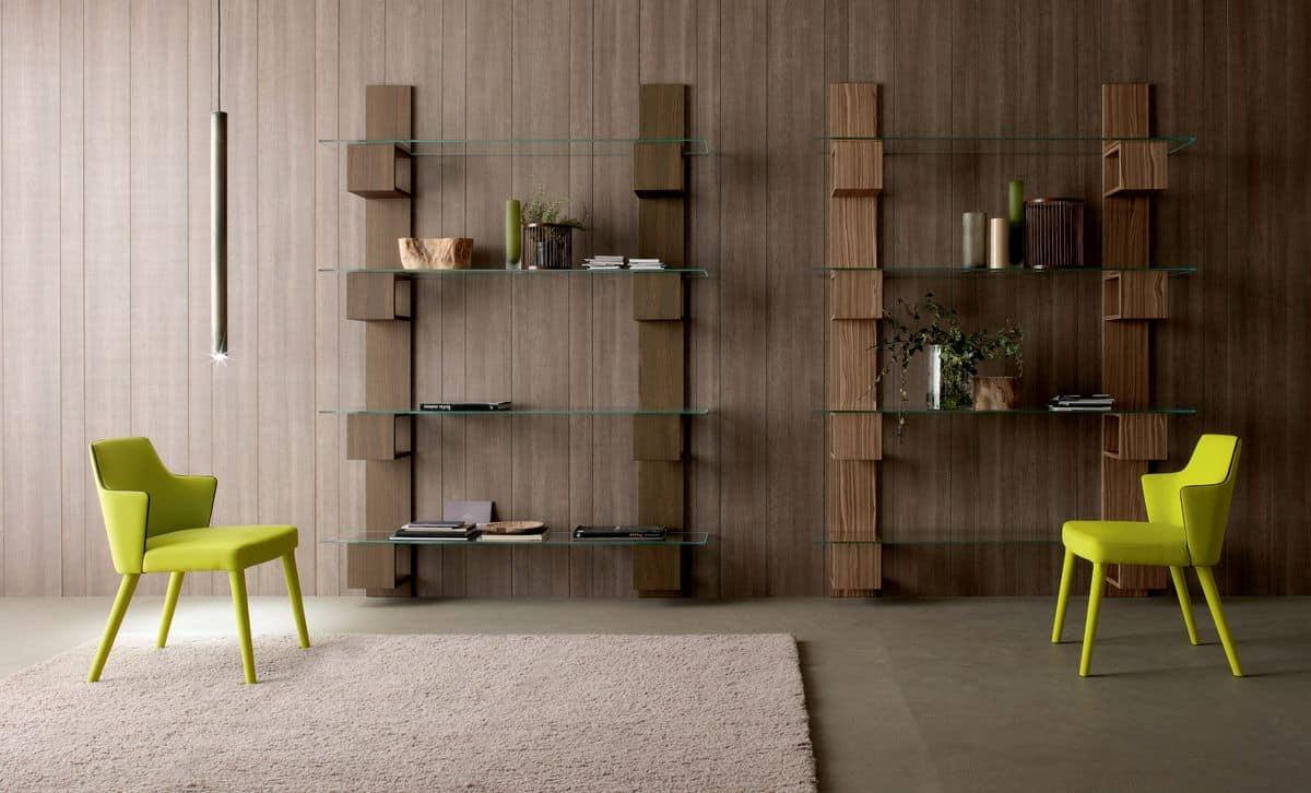 Infinity, Moderner B�cherschrank aus Holz mit Glasb�den Aufenthalt