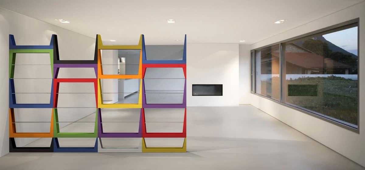 Iride, Bibliothek mit MDF-Struktur, Glasb�den