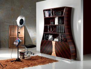LB13 Cartesio, Bücherregal in Makassar-Ebenholz, gebogene Holzkomponenten, Blumenschmuck