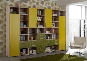 Bücherregal AL 20, Bücherregal mit 14 Schubladen und 4 Türen