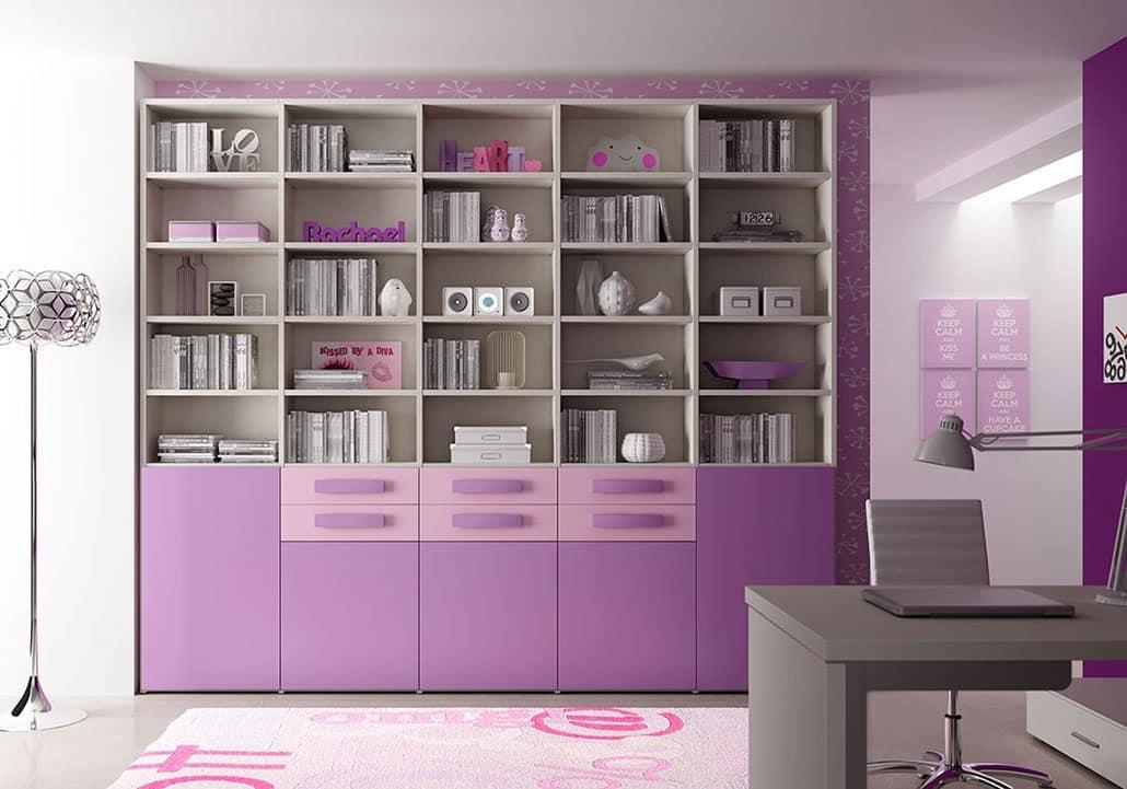 Modernes Bücherregal mit 5 Türen und 6 Schubladen | IDFdesign