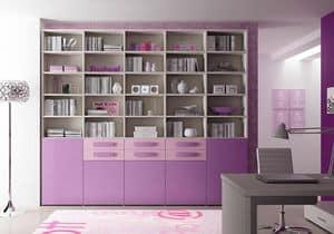 Bücherregal AL 21, Modernes Bücherregal mit 5 Türen und 6 Schubladen