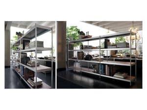 Light, Modulares Bücherregal mit Regalen aus lackiertem Stahl