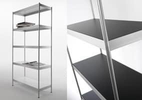 modulares b cherregal mit regalen aus lackiertem stahl. Black Bedroom Furniture Sets. Home Design Ideas