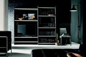 LINEAR 180-210 PP117-PP121, Modernes Bücherregal aus Laminat und dekoriertem Metall