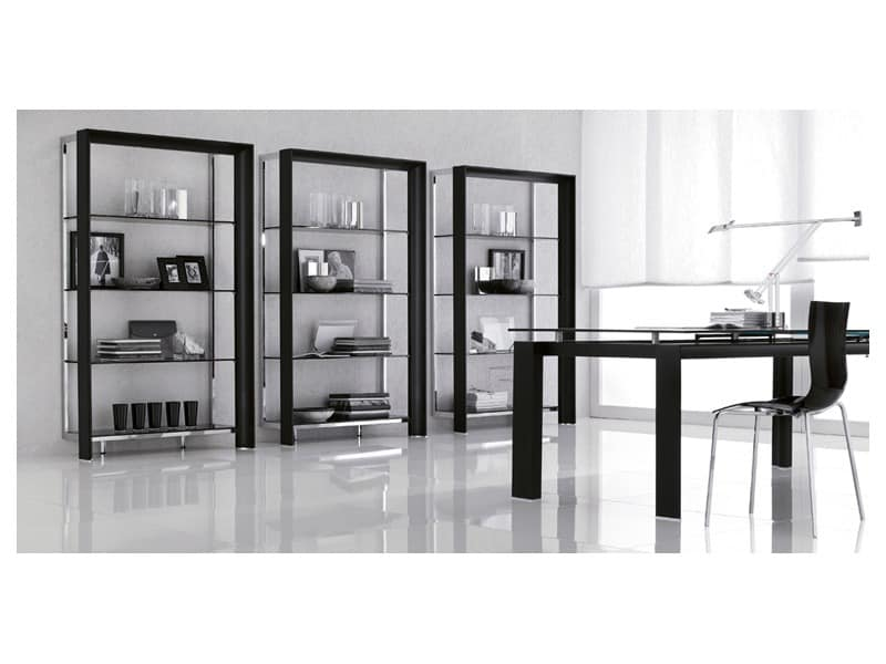 kostbaren b cherregal mit glasb den f r moderne wohnzimmer idfdesign. Black Bedroom Furniture Sets. Home Design Ideas