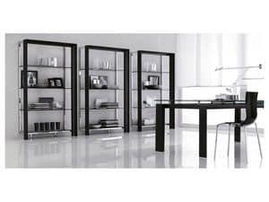 MIAMI bookcase, Kostbaren Bücherregal mit Glasböden, für moderne Wohnzimmer