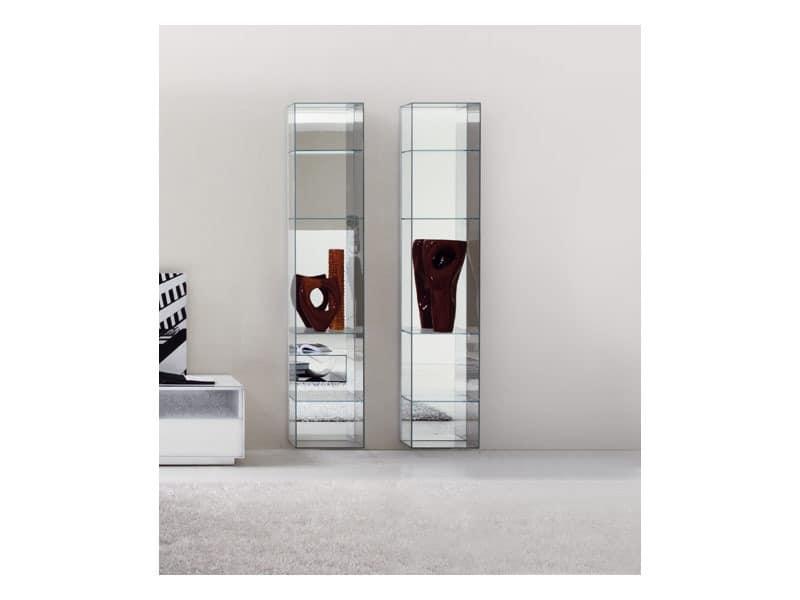 modernes b cherregal in glas mit spiegel zur ck idfdesign. Black Bedroom Furniture Sets. Home Design Ideas