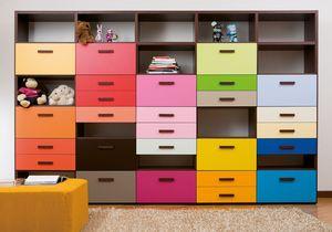 Modulari comp.03, Anpassbares Bücherregal mit farbigen Schubladen