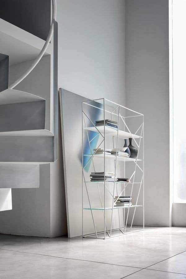 b cherregal aus lackiertem stab und glas f r moderne b ro. Black Bedroom Furniture Sets. Home Design Ideas