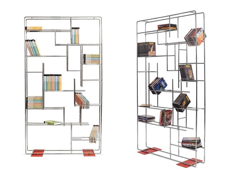 b cherregal mit stahlrohrgestell f r das wohnzimmer. Black Bedroom Furniture Sets. Home Design Ideas