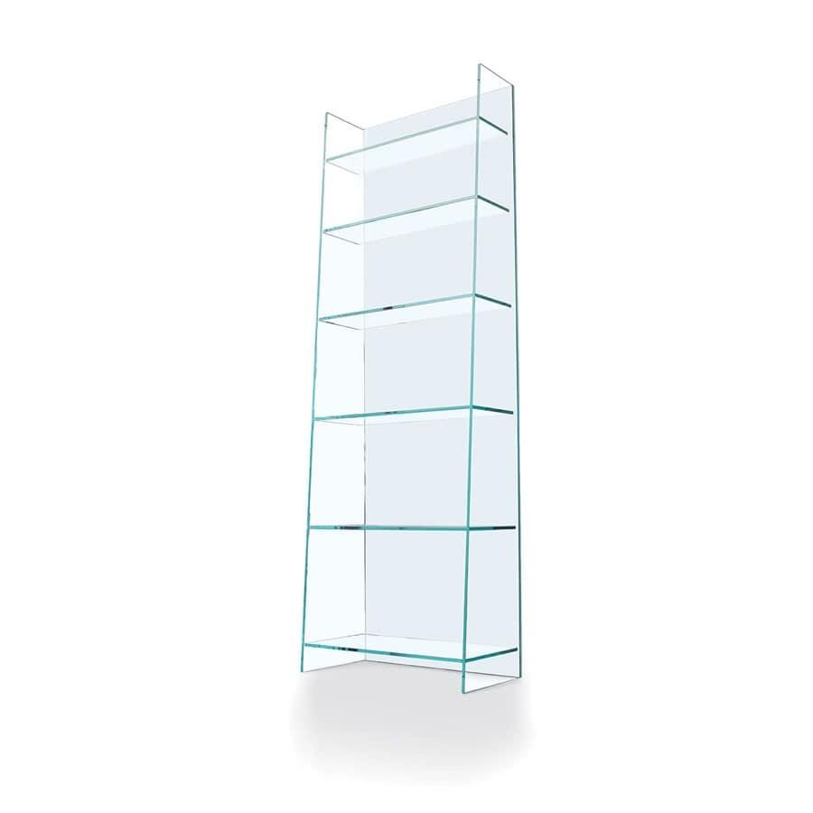 lineare b cherregal in transparentem glas f r aufenthalte idfdesign. Black Bedroom Furniture Sets. Home Design Ideas