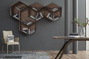 PANGEA, Modulares Bücherregal, bestehend aus Würfel aus Holz und Metall