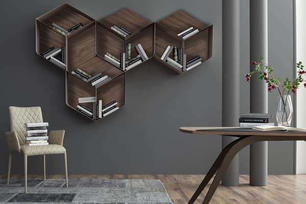 PANGEA, Modulares B�cherregal, bestehend aus W�rfel aus Holz und Metall