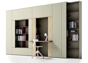 Roomy 03, Bibliothek mit Schreibtisch, f�r moderne Wohnzimmer